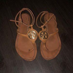 Peanut butter brown Tory Burch thong sandals